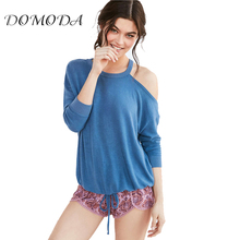 DOMODA Apparel Summer Sweet Loose Female Top Tees Blue One Shoulder Casual Chic Women T-shirt Sexy Lace Up Basic Pullover Tops
