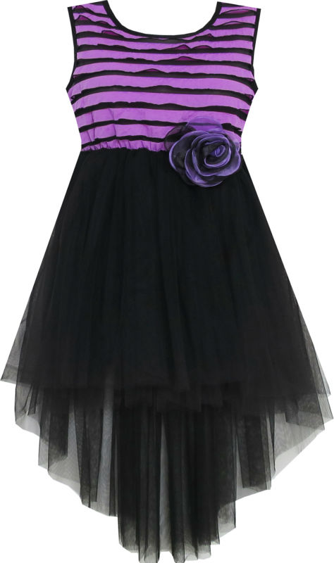 Sunny Fashion Girls Dress Hi-Lo Maxi Sleeveless Striped Lace Purple Black 2017 Summer Princess Wedding Party Dresses Size 7-14<br><br>Aliexpress