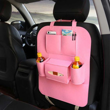 1pc 55*40cm Bright Plush Senior Style Non-woven Large Car Multifunction Hanging Organizer Car Seat Back Capacity Storage