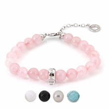 Thomas Rose Pink Quartz Pearl Black Beads Bracelet Fit TS Charm, Chain Length 4.5cm, Glam Jewelry Soul Gift for Women TS B504x