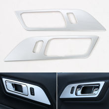 BBQ@FUKA 2x ABS Car Interior Door Handle Cover Bowl Molding Trim Sticker Silver/Blue/Red Fit For Ford Mustang 2015-16(China)