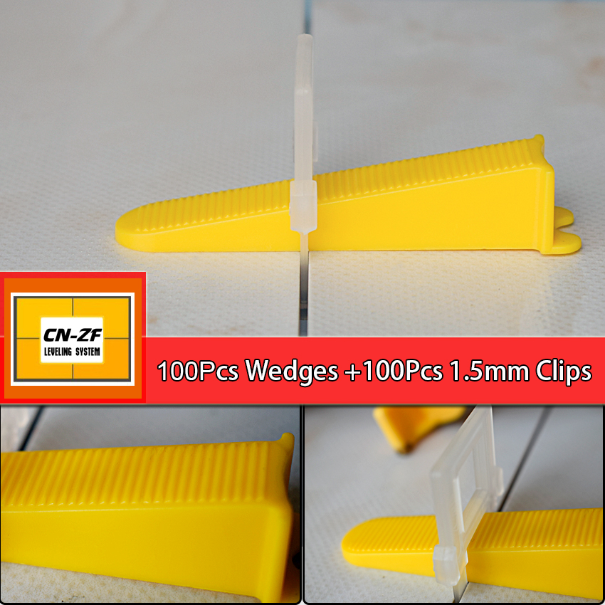 100 Wedges 100 Clips Plastic Ceramic Accessories Livellamento Floor Spacers Leveler Tiles Tools Tile Leveling System With Tool<br>