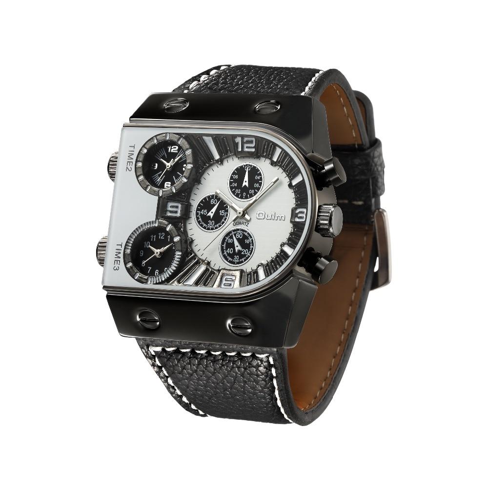OULM Sport Watch Men Quartz Analog Clock 3 Time Zone Sub-dials Design Big case Oversize Fashion Black Wrist Watches relogio 18