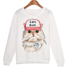 Harajuku Hoody Women Casual Hoodies Cute Cartoon Cat Print Jumper Long Sleeve O-neck Sweatshirt For Women Hooded