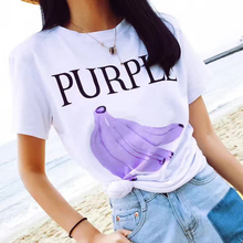 Buy T MODA 2017 New Fashion Women's Purple Banana Letter Printed White T Shirt Fruits Printed Casual T-Shirt Loose Top Large Tees for $6.56 in AliExpress store