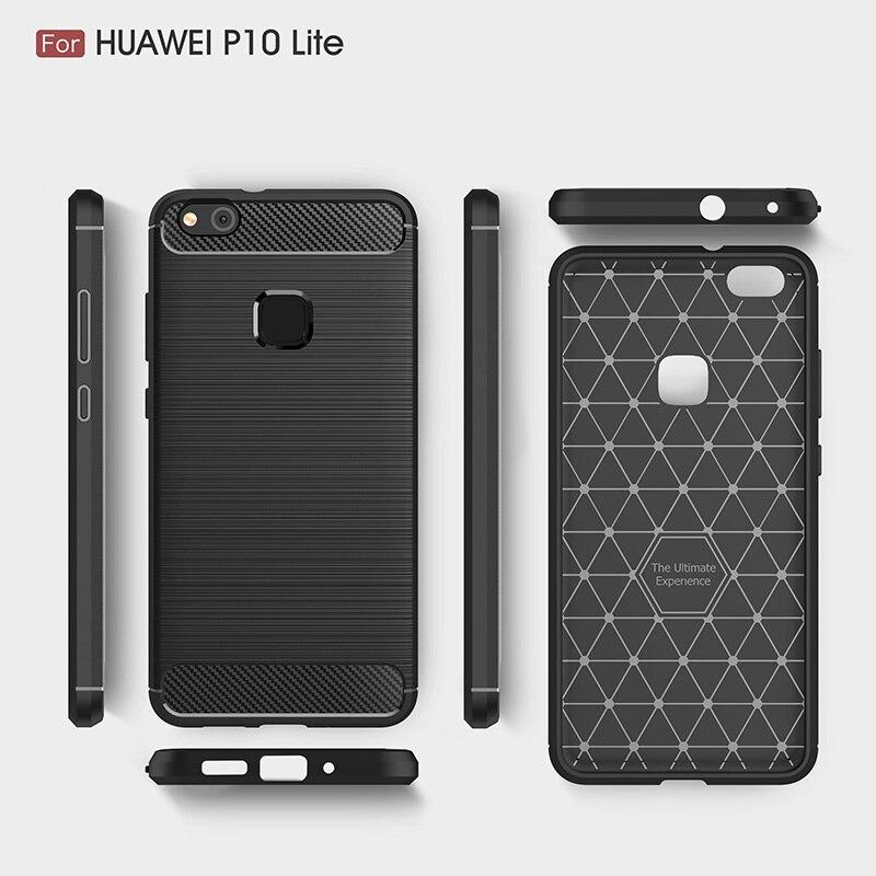 carbon fiber brushed silicone case huawei P10 Lite (9)