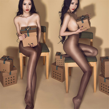 2017 Hot Sexy Stockings 30D Women's Sexy Oil Shiny Open-Crotch High Waist Pantyhose Sheer Ultrathin Stockings Sexy Lingerie(China)