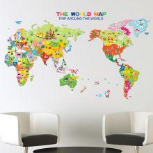 Cartoon Animal World Map DIY Vinyl Wall Stickers Kids love Home Decor office Art Decals creative 3D Wallpaper decoration