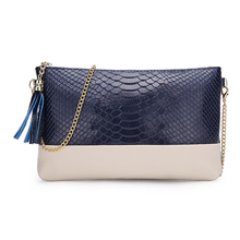 Evening Bags for Women Leather Clutch Women Leather Handbags Fashion Tassel Chain Shoulder Bags with Crocodile Pattern