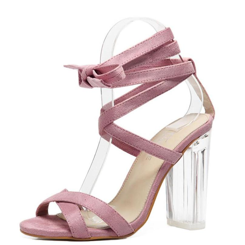 Women Sandals Pink Ankle Strap Perspex High Heels Clear Crystal Concise Strappy Lace Up Pumps High Quality Rome Shoes Woman<br><br>Aliexpress