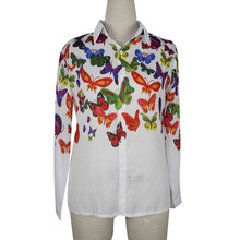 FEITONG Women white loose chiffon shirts butterfly Pattern long sleeve blouse ladies casual office wear tops blusas#LREW(China)