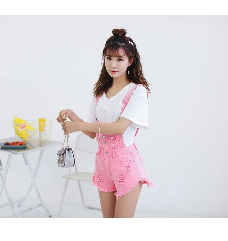 Denim Bibs Schoolgirl 2018 Spring New Loose Korean Thin Thin hole Flashes Fringe Shorts (14)