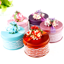 5pcs new fashion creative wedding candy box carton gift box dance parties round tin candy box wedding supplies free shipping
