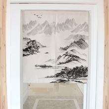 Chinese landscape painting decorative door curtains fabric cloth cotton home screens partition bathroom kitchen curtains