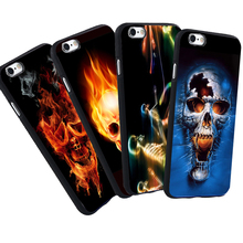 For iPhone 6 6S 7 Plus 5 S SE  5S Case Mexico Flower Fire Skull Pattern Protective Black Silicone Soft Case