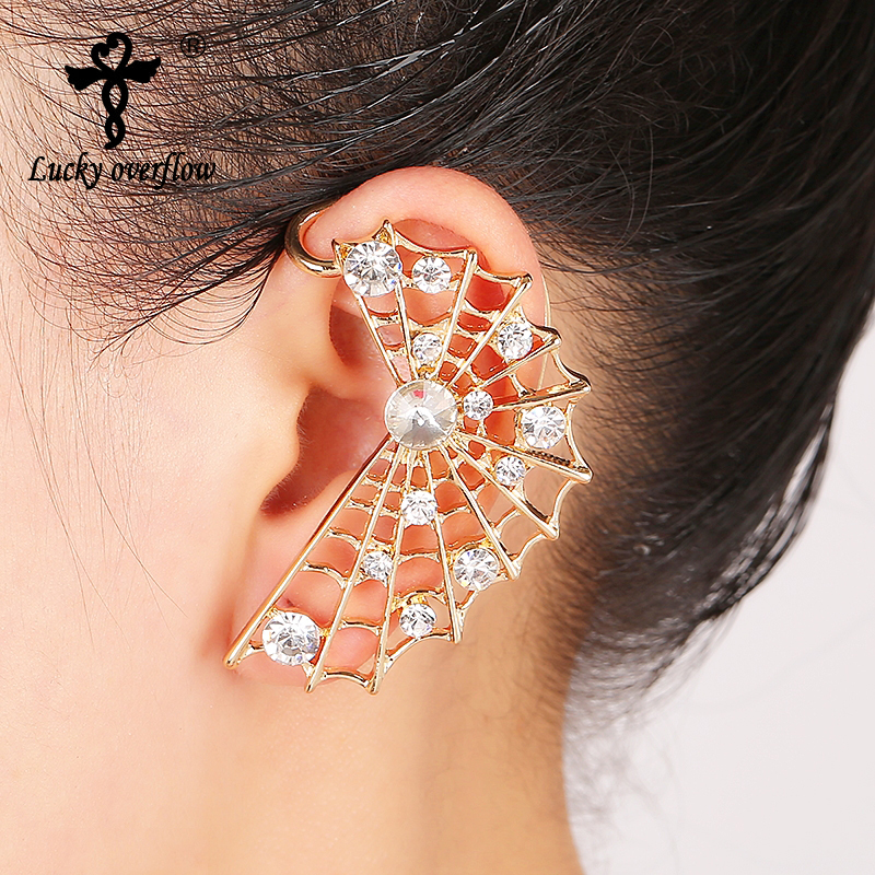 2017 New Fashion Design Women Rhinestone Spider Mesh Type Ear Cuff Clip High Quality On Earrings Boucle D'oreille Femme Girls(China)