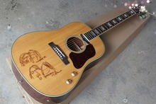 2017 New + Factory + Natural Chibson J160e acoustic guitar John Lennon signature J160 electric acoustic guitar top drawings J160