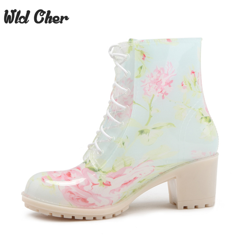 Women Spring 2017 Rain Boots Womens High Heel Thickened Footwear Ladies Fashion Flower Round Toe Half Knee Boots Size 36-405-39<br>