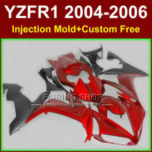 Custom free motorcycle road/race Injection fairings for YAMAHA R1 2004 2005 2006 YZFR1 YZF1000 YZF 04-06 red black fairing kits(China)