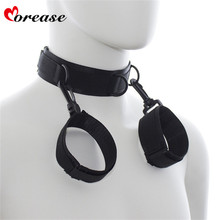 Buy Morease 2 1 BDSM Sex Toys Bondage Necklace Handcuffs Erotic Fetish Collar Slave Hand cuffs Adult Games Couples Women