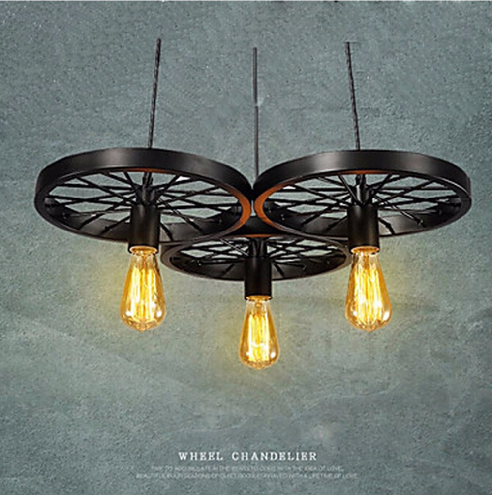 loft creative personality retro restaurant bar American country wrought iron chandeliers industrial style wheels PL058<br>