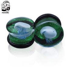 Glass plug Double Flared white Jellyfish ear Plugs Translucent bright  ocean body jewelry piercing wholesale 60 pcs /lot