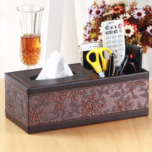 PU Leather Rectangle Square Tissue Box Pen Remote Storage Desk Organizer Paper Napkin Towel Desk Organizer Office Desktop Table(China)