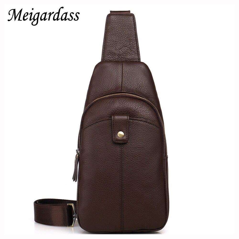 2017 Hot sale Genuine Leather Men Shoulder Bag Fashion Oil Wax Leather Mens Crossbody Bag  Chest Pack L107<br>