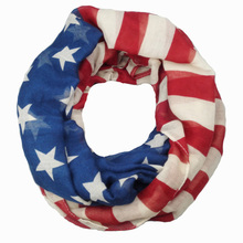 [Visual Axles] Wholesale Vintage American Flag Infinity Scarf Circle USA Flag Scarves For Women/Ladies