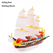 Creative Sailing Boat 3D Building Blocks Model Kits ABS Plastic Diamond Sail Ship Unisex Educational Self Locking Blocks 3000pcs(China)