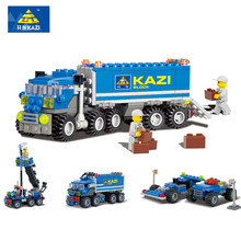 KAZI 6409 Kids Blocks Birthday Gift Dumper Truck DIY Building Toys Educational Building Blocks Brinquedos Playmobil Bricks