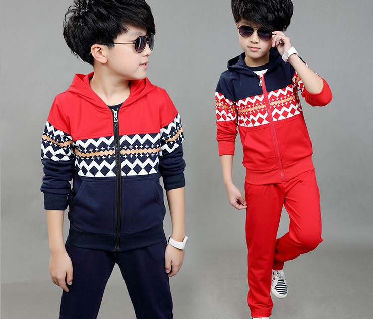 NEW 2017 spring boy casual print hooded suit two piece  kids clothes 9-12 years old boys clothes  sports suit for children<br><br>Aliexpress