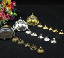 50ets/lot25mm globe glass half bottle dome cover with setting base cap jewelry findings necklace pendants DIY craft Jewelry(China)