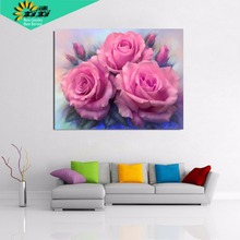 XIXI Art Needlework Diy Diamond painting  full square mosaic home decorative flower picture pink rose diamond embroidery TOP18