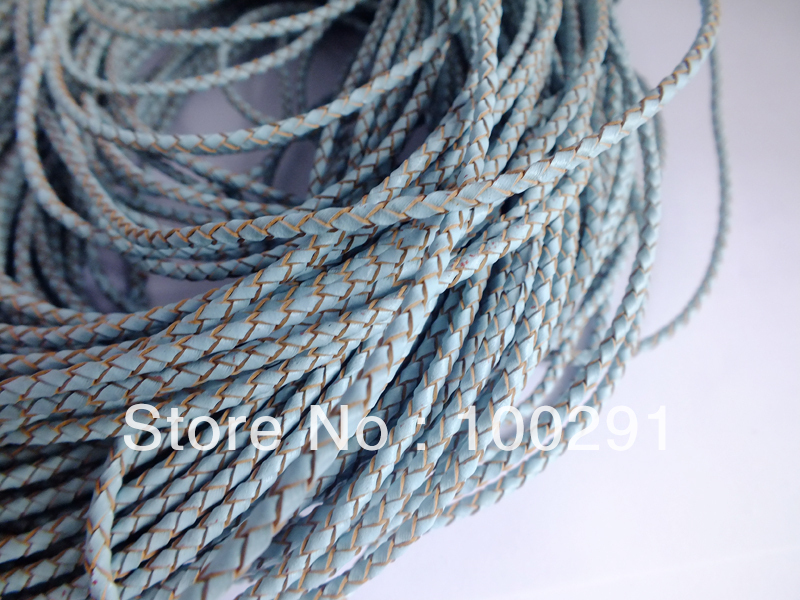 Free shipping !!!  Braided Leather cord Jewelry cord ,blue 3mm fitting jewelry necklace bracelet findings
