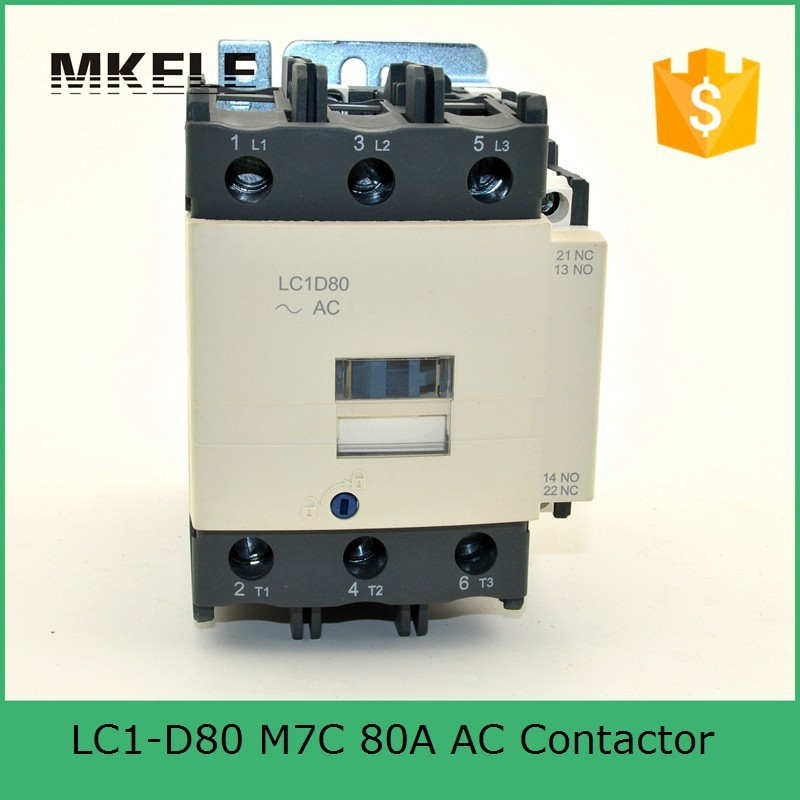 80 amp LC1-D80 M7C electromagnetic contactor 220V single phase contactor price with 85% silver contacts with high quality<br>