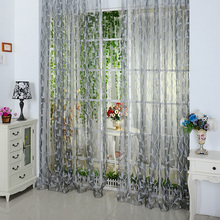 2017 New Chic Leaf Type Tulle Door Window Curtain 200*100cm Free Shipping