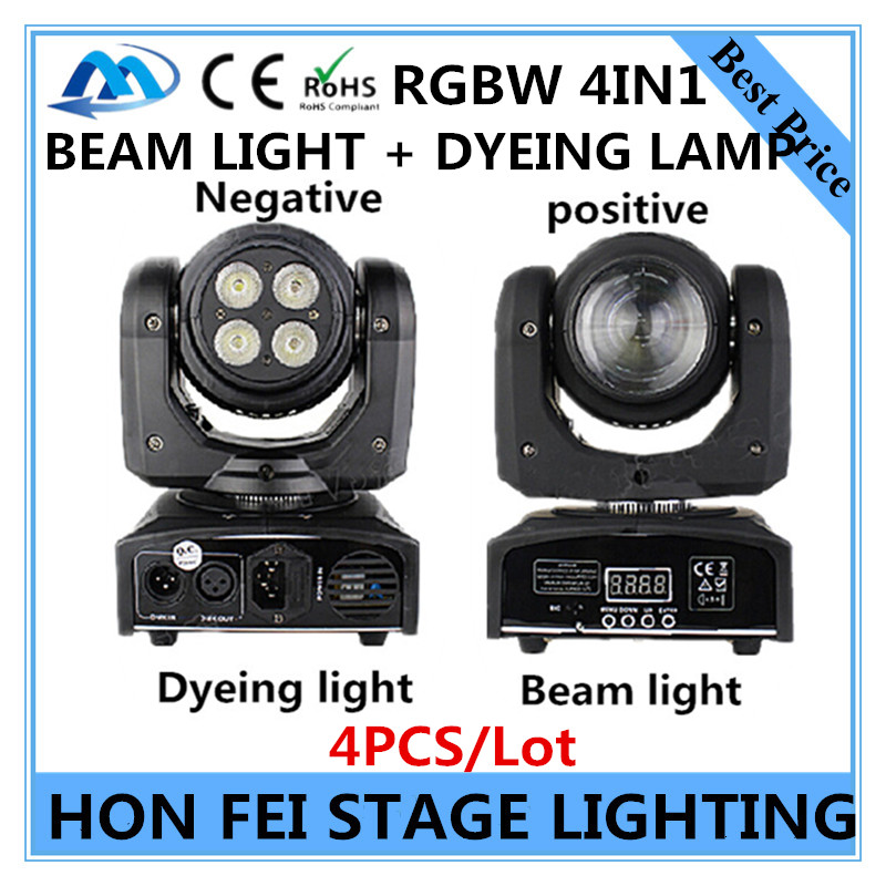 4PCS / RGBW 4in1 double-sided moving head light 10W beam light + 4X10W dyeing light DMX512 stage professional DJ equipment <br><br>Aliexpress