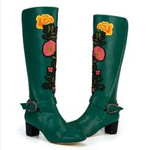 2017 women Autumn boots chunky heels toe buckle decoration knee-high flower women designer boots shoes with embroidery green
