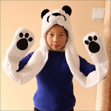 2017 New Fashion Beanies Cute Animal Bear Panda Cartoon Kids Adult Hats Ears Plush Warm Cap Hat Earmuff Scarf Gloves LB(China)