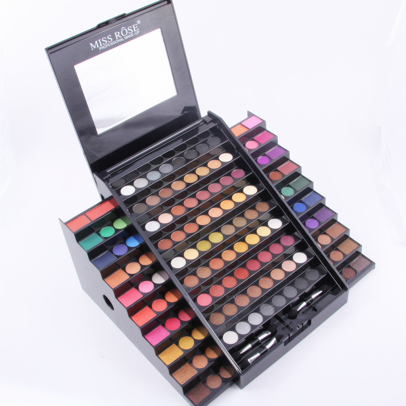 Miss Rose 130 Color Professional Makeup Ket Cosmetic Set Long-Lasting Shimmer Matte Eyeshadow Ladder Mirror Kits Multifunction<br>