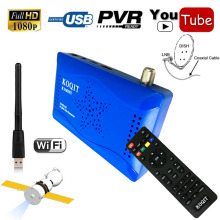 N/S America HD Video DVB-S2 Digital Satellite Receiver + Youtube 1080P AV Set Top Box Support IKS Cccam Gscam Power Vu USB Wif