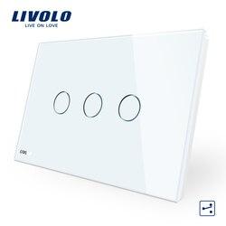 Livolo AU/US StandardTouch переключатель, VL-C903S-11, белый, с украшением в виде кристаллов Стекло Панель, 3-ган 2-полосная сенсорный Управление выключатель с...