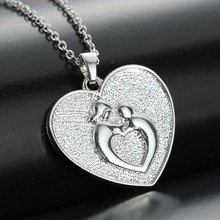 Buy Silver plated personalized necklaces Embrace heart pendant necklace Women Fashion Necklace Chain Necklaces mom daughter for $1.65 in AliExpress store