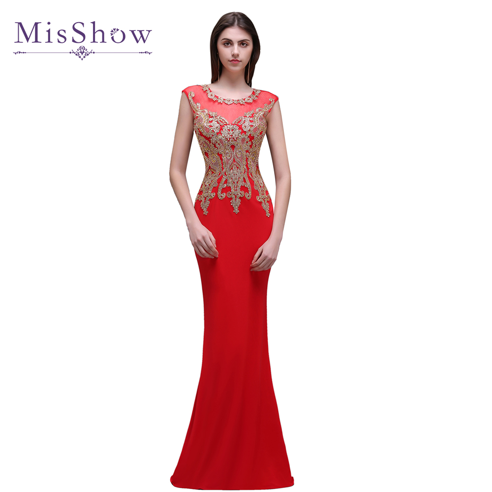 In stock ! On sale! Women Red Long Evening Dresses Robes De Soriee 2019 Elegant Gold Appliques Evening Gowns Formal Party Dress