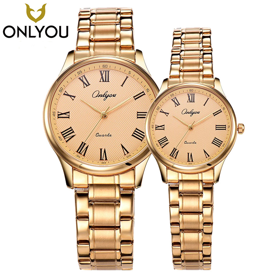 ONLYOU Lovers Watches Top Brand Luxury Famous Gold Watch Male Quartz WristWatch Calendar Roman Numeral Clock Wholesale<br>