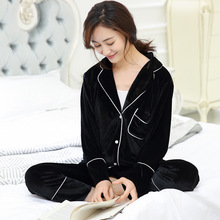 2017 spring high-grade velvet velvet suit Home Furnishing ladies pajamas female Korean boutique suite can wear pajamas(China)