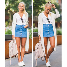 Stylish Women clothes Denim High Waist Bodycon Blue Button Bandage Slim pocket casual Pencil Mini Skirts one pieces