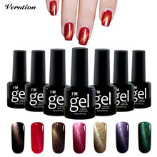 Verntion Nail Gel Lak Lucky Semi Permanent Colorful Magnetic 3D Cat Eyes UV Nail Polish Long Lasting Lacquer Gel Varnish Sale(China)