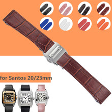 20mm 23mm Alligator Grain Genuine Leather Watchband Watch Strap Buckle Wristband TOP Grade Clasp for Cartier Santos 100 Large